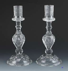 QUALITY ANTIQUE CUT GLASS CANDLESTICKS ANGLO  IRISH