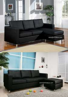Faux Leather Sectional Sofa Set Modern Couch Perfect for Dorm
