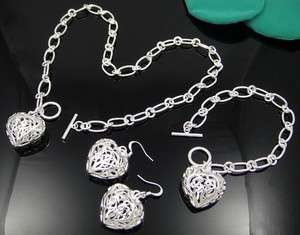 SILVER EP HEART CHARM NECKLACE BRACELET EARRING SETS B19