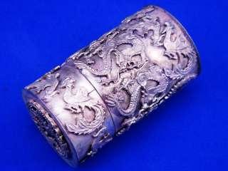 Ship From U.S* Tibetan Silver Dragon Phoenix Toothpick Holder
