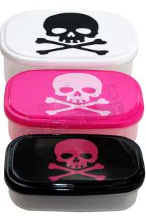Skull Bones Food Storage Containers 3 Piece Rockabilly Pirate Lunch