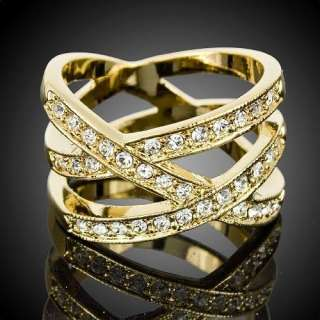Fashion Crystal Bird Nest Yellow Gold GP Cocktail Ring