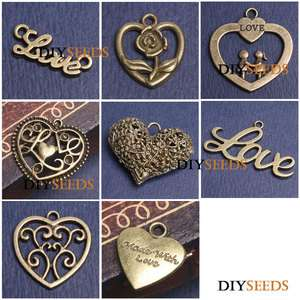Vintage Antique Brass Bronze Love Jewelry Findings Charms & Pendant