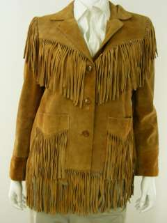 womens suede leather jacket Dawn Fashions brown M 11 12 fringe vintage