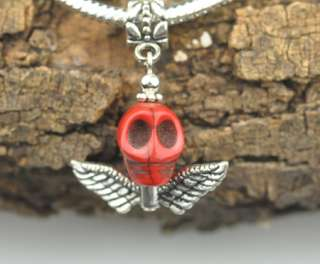 Red Day of the Dead Skull W Wings Dangle Charm Bead European Style