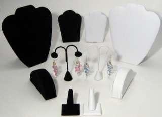 Huge 10 Piece Black White Jewelry Showcase Display Set