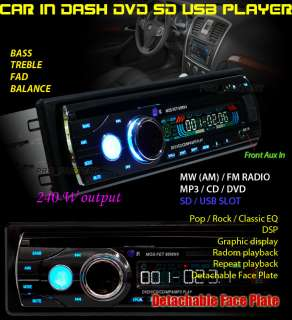 IN DASH DVD CD SD USB CAR STEREO PLAYER Detachable 9640