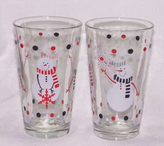 Christmas Snowman Drinking Tumblers Glasses Libbey
