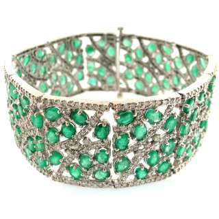 64ctw Emerald & Diamond Ladies Bracelet 14k White Gold