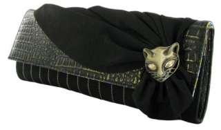 Irregular Choice Miaow Black Gold Womens Clutch Bag