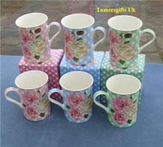 FINE BONE CHINA SET OF 6 POLKA DOT ROSE FLOWER MUGS