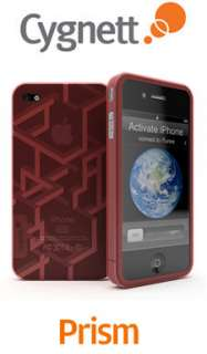 CYGNETT RED PRISM TPU CASE WITH LINE DESIGN iPHONE 4