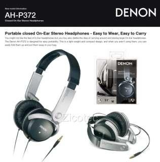 Denon AH P372 Portable On Ear Stereo Headphones (Black) Brand New