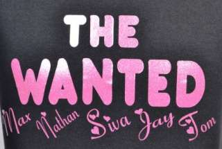 THE WANTED KIDS BLACK T SHIRT & GLITTER PINK AGE 5 15
