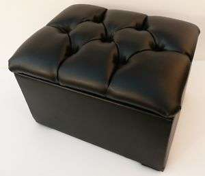 DELUXE BLACK FAUX LEATHER STORAGE BOX / FOOTSTOOL
