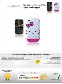 Coque arrière pour BlackBerry Curve 8520   Motif Hello Kitty   Rose