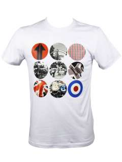 Mens Lambretta Multi Retro Icon Print S/S T Shirt White