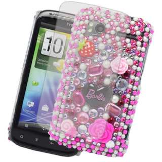 FOR HTC SENSATION BARBIE DIAMOND FLOWER HOT PINK CASE COVER + SCREEN