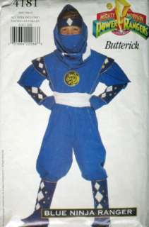 Morphin Power Rangers Boys Blue Ninja Ranger Costume Pattern 4181 s4 7