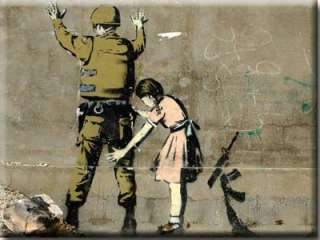 Banksy Girl Searching Soldier Box Canvas Print 6 x 8