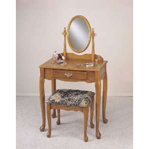 Powell Nostalgic Oak Vanity Mirror and Bench Set  Home