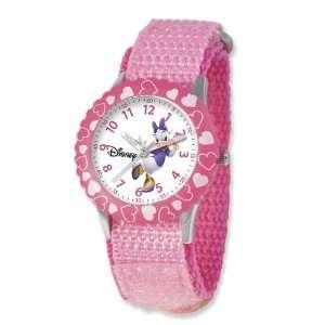 Disney Kids Daisy Duck Pink Velcro Band Time Teacher Watch