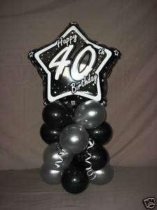 HAPPY 40TH BIRTHDAY HELIUM FOIL STAR BALLOON DISPLAY