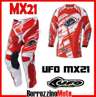 COMPLETO MOTOCROSS UFO PLAST MX21 MX 21 ROSSO / BIANCO MAGLIA XXL