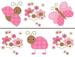 LADYBUG PINK BROWN BUTTERFLY BABY GIRL NURSERY FLORAL WALL BORDER