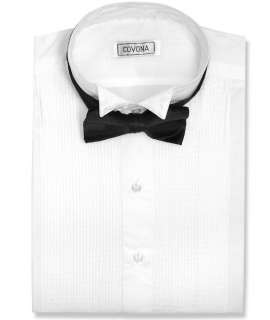 Mens Tuxedo White Dress Shirt w/Black Bow Tie sz Small