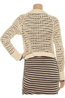 Cropped open knit cotton blend sweater   60% Off Now at THE