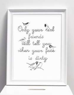 This print celebrates real friendships The hand drawn words Only