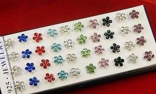 Wholesale Silver Flowers Rhinestone Pierced Stud ear Earrings 40PCS