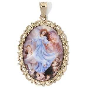Anthony® 14K and Enamel Angel of God Pendant with Prayer