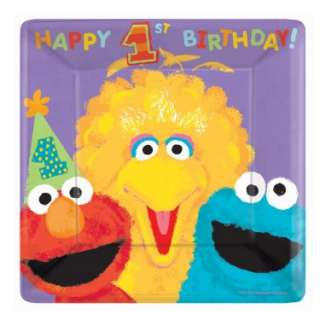 Sesame Street 1st   Square Banquet Dinner Plates (18 count)   Costumes