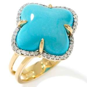 Sleeping Beauty Turquoise and Diamond 14K Cross Cut Ring