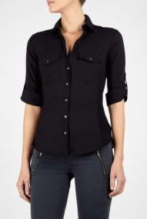 James Perse  Black Side Panel Button Front Shirt by James Perse