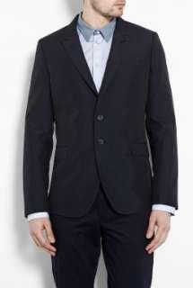 Smith  Navy Fine Stripe Cotton Silk Fitted Peak Blazer by PS Paul S