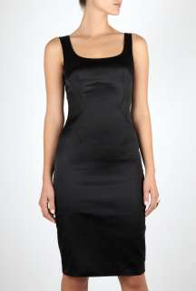 Black Classic Stretch Satin Fitted Dress by D&G Dolce&Gabban