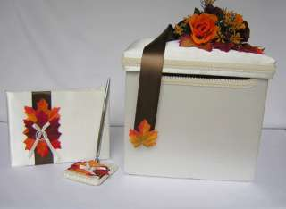 Wedding Reception Fall Card Money Box Guest Book Pen