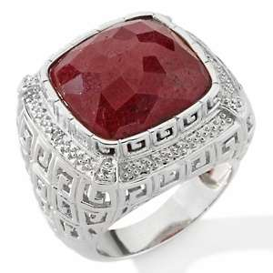 Ying Opaque Red Corundum Thunder Pattern Cushion Cut Ring