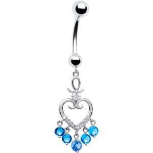 14k White Gold Blue Cz Regal Hollow Heart Belly Ring Jewelry