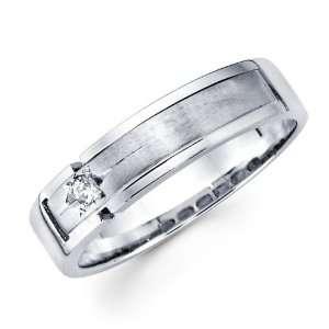 Mens Solitaire Diamond Wedding Band 14k White Gold Ring (0.05 Carat