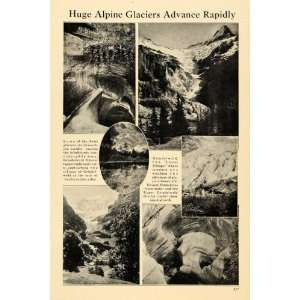 1922 Print Swiss Alpine Glaciers Grindelwald Movement