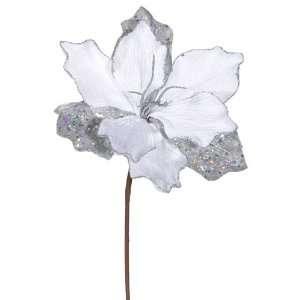 Elegant White & Silver Sparkle Amaryllis Flower Pick
