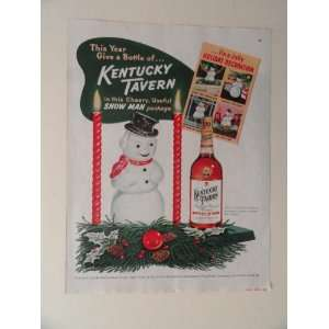 Kentucky Tavern whiskey. 1952 full page print advertisement.(snow man