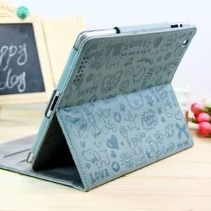 ZuGadgets Cute Graffiti Pattern Leather Case/Stand Case for Apple iPad
