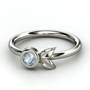 Boutonniere Ring, Round Aquamarine Sterling Silver Ring Jewelry