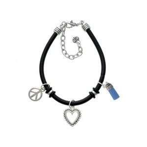 3 D Blue Baby Bottle Black Peace Love Charm Bracelet Arts