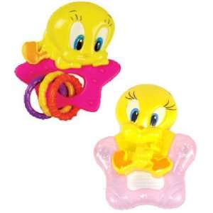 Baby Looney Tunes Tweety Rattle & Teether Set (Pink) Baby